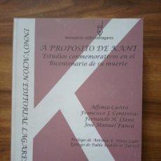 Libros antiguos: A PROPÓSITO DE KANT. ESTUDIOS CONMEMORATIVOS EN EL BICENTENARIO DE SU MUERTE. Lote 167186604