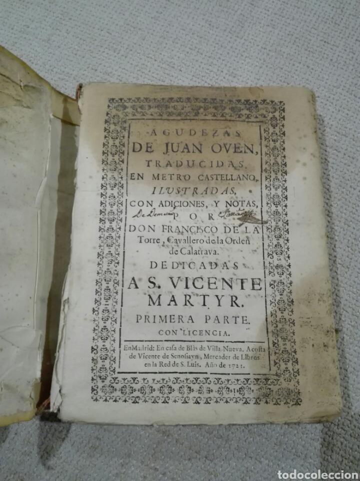 Libros antiguos: 1721. Pergamino. AGUDEZAS DE JUAN OVEN. Jhon Owen. - Foto 2 - 168129294
