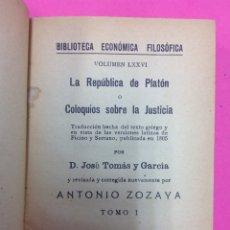 Libros antiguos: LA REPUBLICA DE PLATÓN O COLOQUIOS SOBRA LA JUSTICIA - ANTONIO ZOZAYA - TOMO I - 1805. Lote 170118078