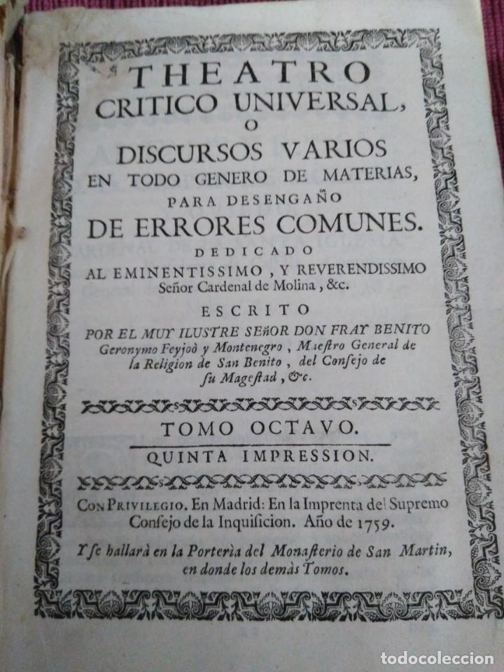 1759. FEYJOO. THEATRO CRÍTICO UNIVERSAL. TOMO OCTAVO. DEMONÍACOS AGRICULTURA PARADOXAS SOFISMAS (Libros Antiguos, Raros y Curiosos - Pensamiento - Filosofía)