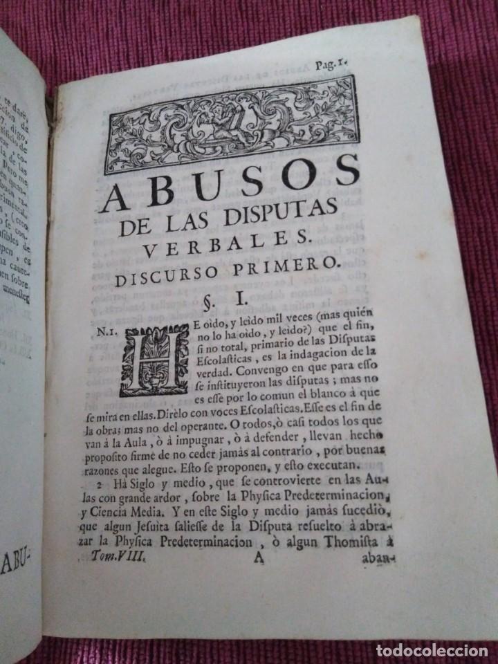 Libros antiguos: 1759. Feyjoo. Theatro crítico universal. Tomo octavo. Demoníacos agricultura paradoxas sofismas - Foto 5 - 171987559