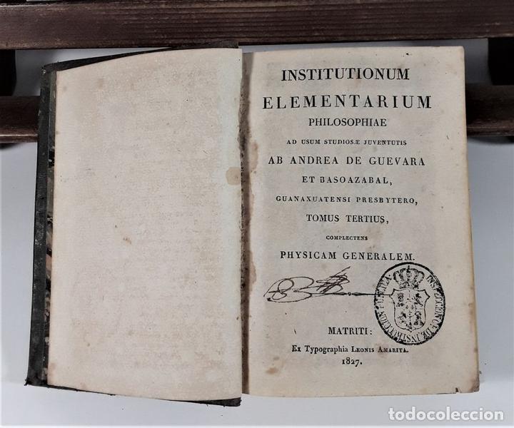 Libros antiguos: INSTITUTIONUM ELEMENTARIUM. 2 TOMOS. A. DE GUEVARA ET BASOAZABAL. 1825/27. - Foto 8 - 172288704