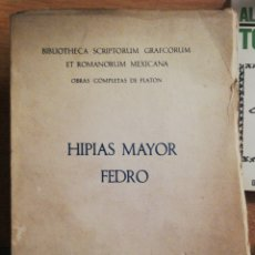 Libros antiguos: PLATÓN: HIPIAS MAYOR / FEDRO (GARCÍA BACCA), UNAM 1945. Lote 174354709