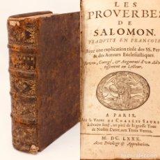 Libros antiguos: LES PROVERBES DE SALOMON, PARIS, FRANCÉS-LATÍN, 1680, 783 PÁGINAS, LIBRO ANTIGUO, RARO SIGLO XVII. Lote 175947932