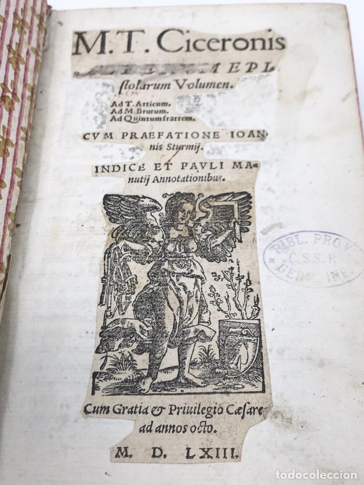 Libros antiguos: Ciceronis Epistolarum 1563, Siglo XVI, 17cmx11'5cmx5cm, 441 páginas, antiguo, excelente condición - Foto 4 - 176148134