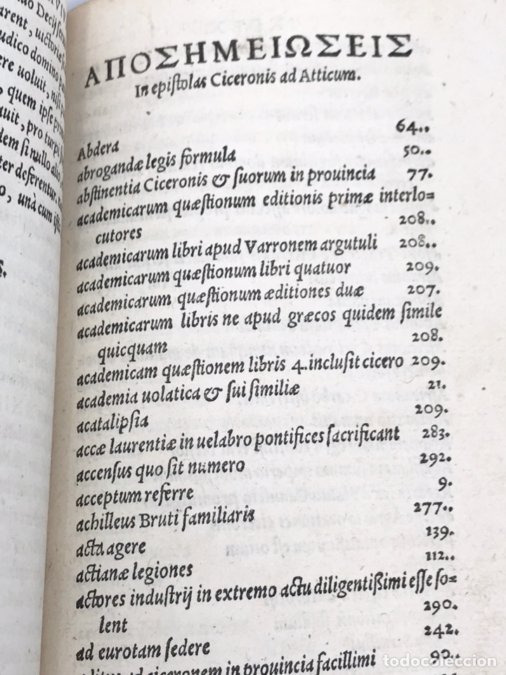 Libros antiguos: Ciceronis Epistolarum 1563, Siglo XVI, 17cmx11'5cmx5cm, 441 páginas, antiguo, excelente condición - Foto 21 - 176148134