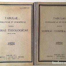 Libros antiguos: S. TOMÁS DE AQUINO. TABLAS SISTEMÁTICAS Y SINÓPTICAS: SUMA TEOLÓGICA Y SUMA CONTA GENTILES. Lote 179960977