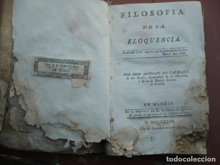 Libros antiguos: Filosofia de la Eloquencia por Antonio de Capmany, Madrid Antonio de Sancha 1777 - Foto 3 - 180162102