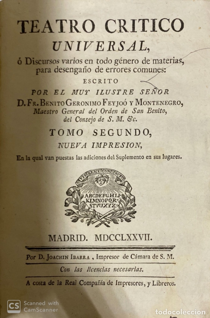 Libros antiguos: THEATRO CRITICO UNIVERSAL.GERONYMO FEYJOO.TOMO SEGUNDO. JOACHIN IBARRA.REAL COMPAÑIA. MADRID, 1777 - Foto 2 - 181331128