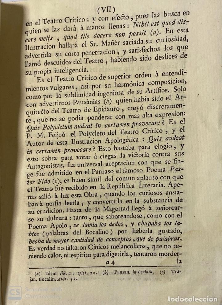 Libros antiguos: ILUSTRACION APOLOGETICA AL 1 Y 2 TOMO DEL TEATRO CRITICO.GERONIMO FEIJOO.PANTALEON AZNAR.MADRID,1777 - Foto 4 - 181335240