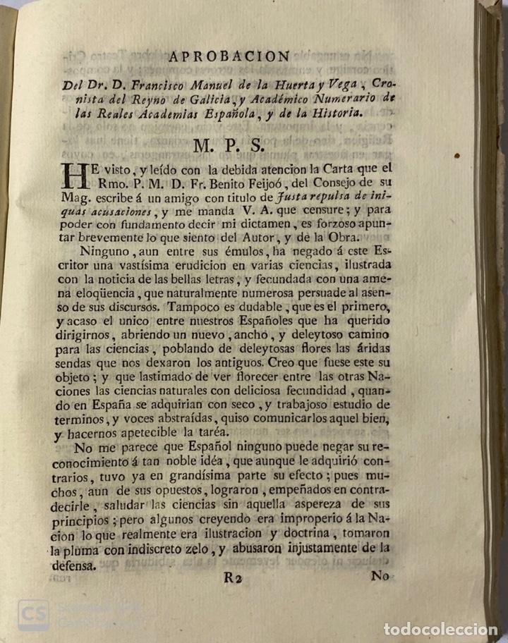 Libros antiguos: ILUSTRACION APOLOGETICA AL 1 Y 2 TOMO DEL TEATRO CRITICO.GERONIMO FEIJOO.PANTALEON AZNAR.MADRID,1777 - Foto 8 - 181335240