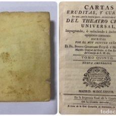 Libros antiguos: CARTAS ERUDITAS Y CURIOSAS THEATRO CRITICO UNIVERSAL.TOMO QUINTO.GERONYMO FEYJOÓ.MADRID,1777.LEER. Lote 181341355