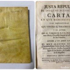 Libros antiguos: JUSTA REPULSA DE INIQUAS ACUSACIONES.CARTA CONTRA EL THEATRO CRITICO.GERONYMO FEYJOO.MADRID, 1757. Lote 181345390