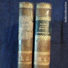 Libros antiguos: FILOSOFÍA FUNDAMENTAL-JAIME BALMES.1868 . 4 TOMOS EN 2.. Lote 182628251