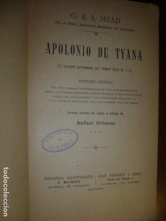 Libros antiguos: APOLONIO DE TYANA ESTUDIO CRITICO G.R.S. MEAD 1906 BARCELONA-BIBLIOTECA ORIENTALISTA - Foto 3 - 183443218