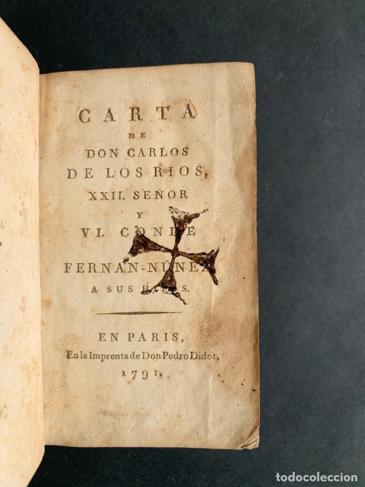 Libros antiguos: 1794 - CARTA DE DON CARLOS DE LOS RIOS, XXII SEÑOR Y VI CONDE DE FERNAN-NÚÑEZ, A SUS HIJOS - Foto 3 - 184079506