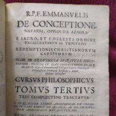 Libros antiguos: 1683. CURSO FILOSÓFICO TRINITARIO. 3 TRATADOS SOBRE OBRAS DE ARISTÓTELES. EMMANUELIS DE CONCEPTIONE.. Lote 188447626