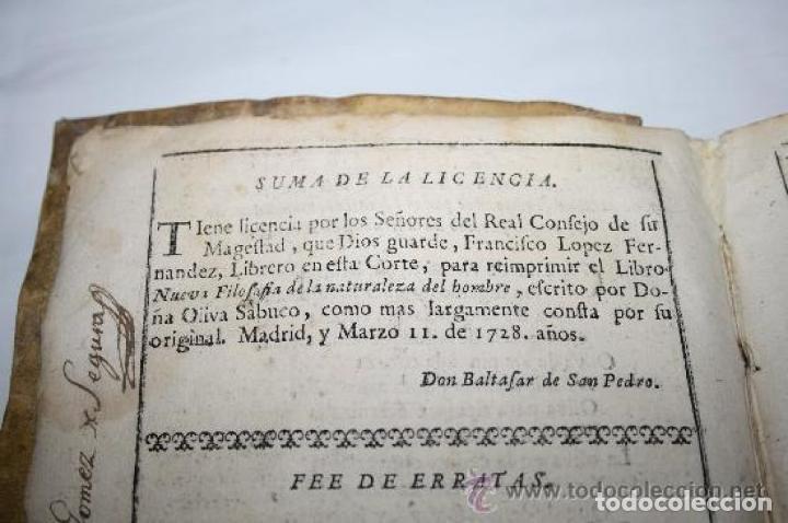Libros antiguos: NUEVA FILOSOFIA DE LA NATURALEZA DEL HOMBRE. OLIVA SABUCO F. LOPEZ MAD 1728 - Foto 5 - 190212001
