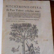 Libros antiguos: M.T. CICERONIS (CICERÓN): OPERA. ROBERT ESTIENNE IMPRESOR. PARIS 1539. IMPRENTA RENACIMIENTO. Lote 194167868
