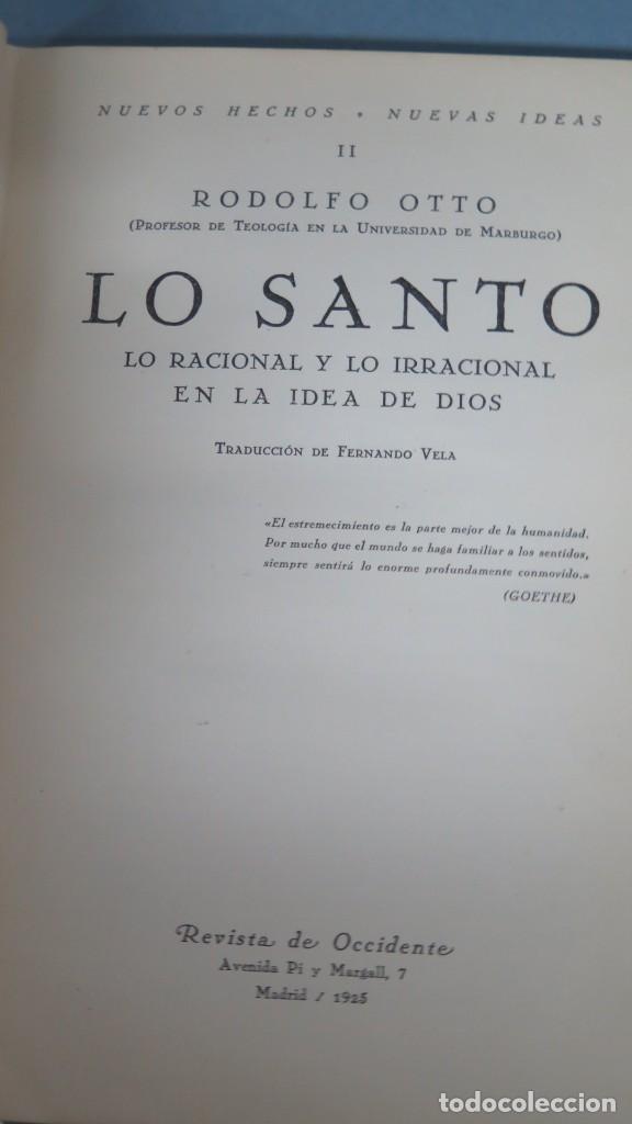 Libros antiguos: 1925.- LO SANTO LO RACIONAL LO IRRACIONAL EN LA IDEA DE DIOS. RODOLFO OTTO - Foto 3 - 194871322