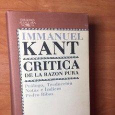 Libros antiguos: CRITICA DE LA RAZON PURA, INMANUEL KANT,. Lote 195172787