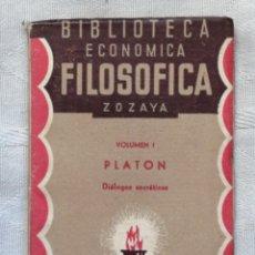 Libros antiguos: DIALOGOS SOCRATICOS PLATON VOLUMEN I . BILIOTECA ECONOMICA Y FILOSOFICA MADRID 1935 MARSIEGA SOCIEDA. Lote 195280593