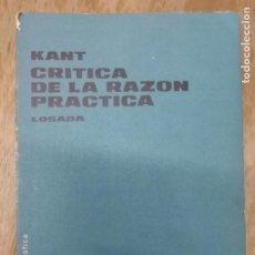 Libros antiguos: CRÍTICA DE LA RAZÓN PRÁCTICA. KANT.. Lote 195372792