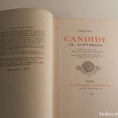 Libros antiguos: VOLTAIRE - CANDIDE OU L'OPTIMISME ED L ESTAMPE MODERNE 1932 COLECCIONISTA GRABADOS NUMERADO PIEL. Lote 195967580