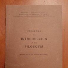 Libros antiguos: 1939 PROGRAMA UNIVERSITARIO FACULTAD FILOSOFÍA - TUCUMÁM. Lote 196768997