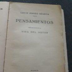 Libros antiguos: PENSAMIENTOS Y VIDA DE LUCIO ANNEO SÉNECA. MADRID 1933. Lote 197349370
