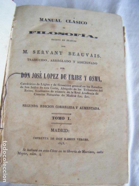 JML 1843 PSICOLOGÍA - MANUAL CLÁSICO DE FILOSOFÍA - SERVANT BEAUVAIS - JOSÉ LÓPEZ DE URIBE Y OSMA (Libros Antiguos, Raros y Curiosos - Pensamiento - Filosofía)