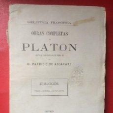 Libros antiguos: OBRAS COMPLETAS DE PLATÓN PATRICIO DE AZCÁRATE DIÁLOGOS FEDÓN GORGIAS EL BANQUETE T V 1871. Lote 198813692