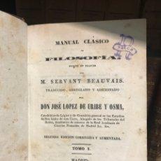 Libros antiguos: FILOSOFÍA. SERVANT. MADRID 1843. Lote 198987225