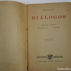 Libros antiguos: DIÁLOGOS PROTAGORAS GORGIAS FEDRO - PLATÓN. Lote 200730780