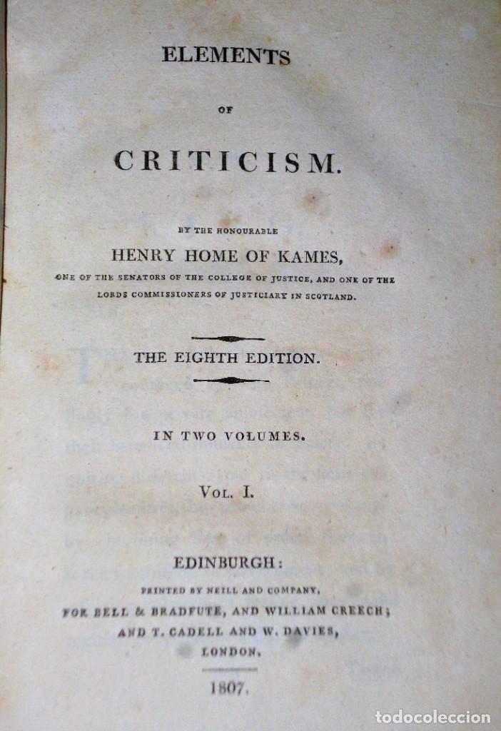 Libros antiguos: ELEMENTS OF CRITICISM. 2 TOMOS - Foto 3 - 204383010