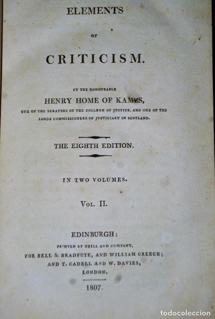 Libros antiguos: ELEMENTS OF CRITICISM. 2 TOMOS - Foto 4 - 204383010