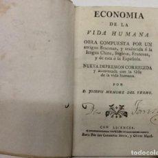 Libri antichi: ROBERT DODSLEY ... ECONOMIA DE LA VIDA HUMANA ... (1789). Lote 204387360