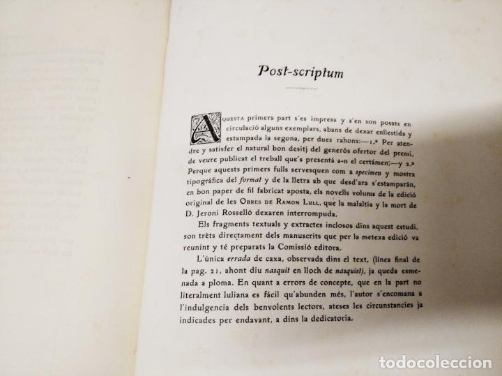 Libros antiguos: DOCTRINES SOCIOLÒGIQUES LULIANES. FRAGMENTS ORIGINALS CONCORDATS AMB BREUS NOTES. 1905 . MALLROCA - Foto 9 - 206835165