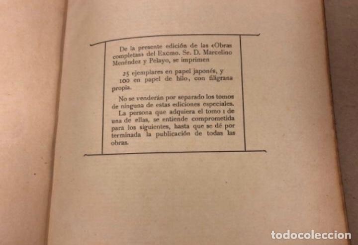 Libros antiguos: OBRAS COMPLETAS DE MARCELINO MENÉNDEZ Y PELAYO. ENSAYOS DE CRÍTICA FILOSÓFICA. EDITADO EN 1918 - Foto 10 - 208320207
