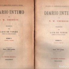 Libros antiguos: EMERSON : DIARIO ÍNTIMO - DOS TOMOS (ESPAÑA MODERNA, C. 1910) SIN DESBARBAR. Lote 211609041