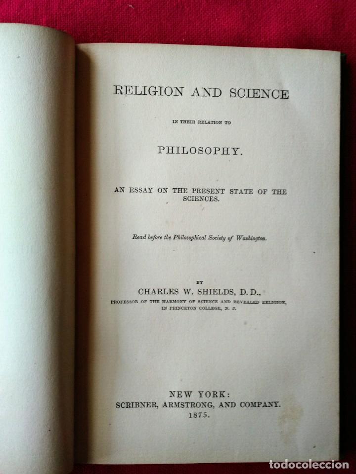 Libros antiguos: Libro antiguo Religión y Ciencia en Inglés - Foto 3 - 213109871