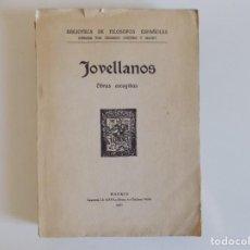 Libros antiguos: LIBRERIA GHOTICA. JOVELLANOS. OBRAS ESCOGIDAS. 1930. FOLIO MENOR. BIBLIOTECA DE FILOSOFOS ESPAÑOLES.. Lote 213370117
