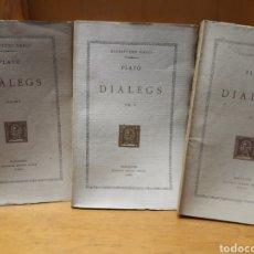 Libros antiguos: COL. BERNAT METGE. DIÀLEGS. PLATÓ. 3 TOMOS. 1931. 1925.1928. Lote 218123266