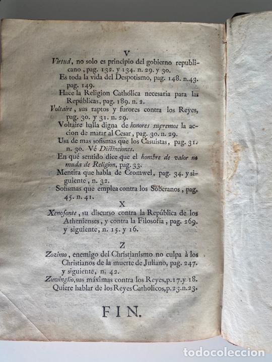 Libros antiguos: la falsa filosofía ó el ateísmo . crimen de estado , tomo sexto , madrid 1776 - Foto 4 - 219490495