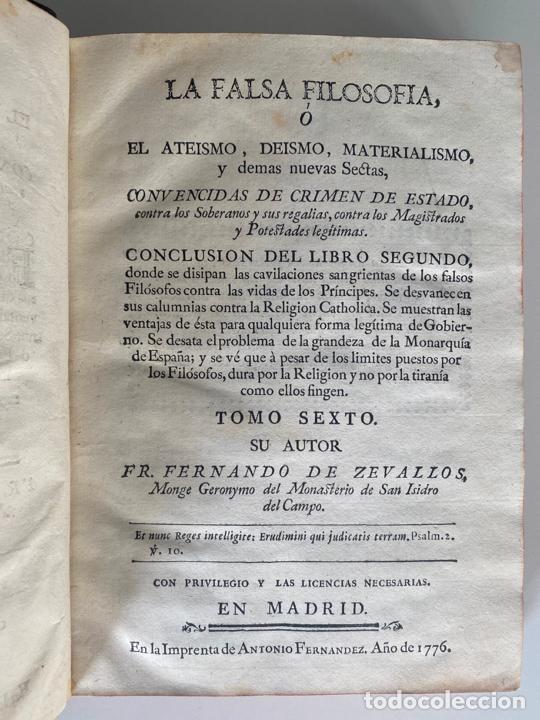 Libros antiguos: la falsa filosofía ó el ateísmo . crimen de estado , tomo sexto , madrid 1776 - Foto 7 - 219490495