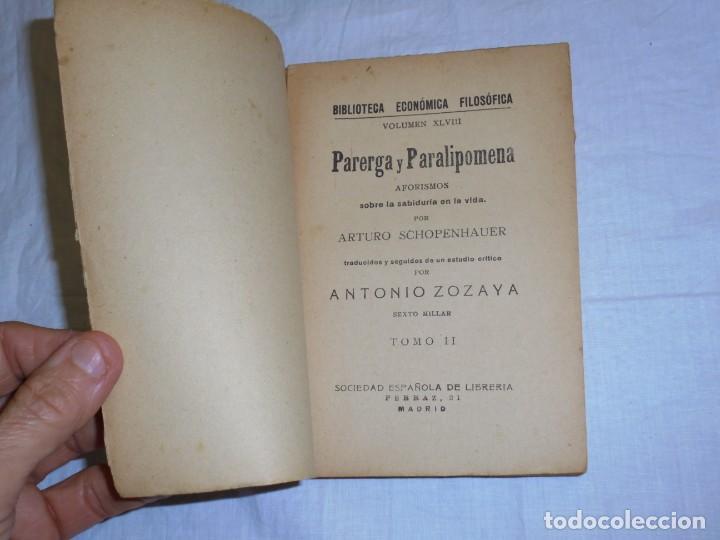 Libros antiguos: PARERGA Y PARALIPOMENA POR SCHOPENHAUER TOMO II. BIBLIOTECA ECONOMICA FILOSOFICA TOMO XLVIII. - Foto 2 - 222815637