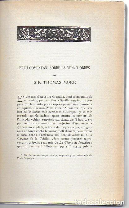 Libros antiguos: Utopia / Thomas Morus; 1a. trad. catalana J. Pin Soler. BCN : LAvenç, 1912. ex paper verjurat (250) - Foto 5 - 224727511