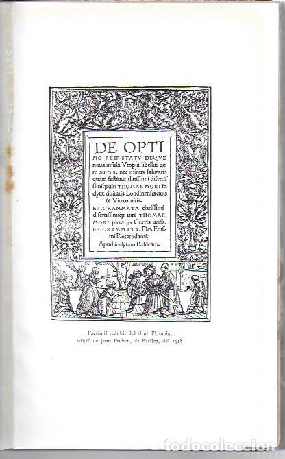 Libros antiguos: Utopia / Thomas Morus; 1a. trad. catalana J. Pin Soler. BCN : LAvenç, 1912. ex paper verjurat (250) - Foto 6 - 224727511