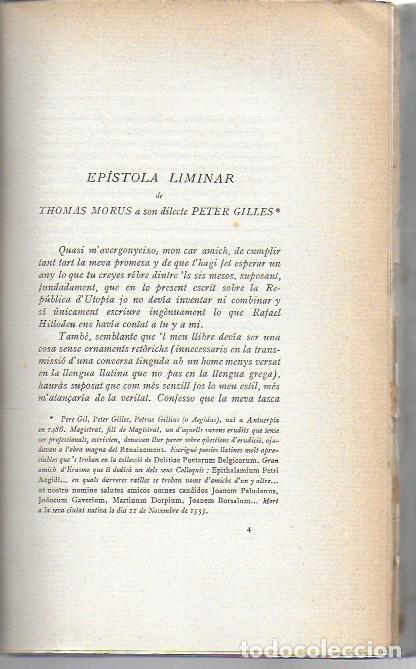 Libros antiguos: Utopia / Thomas Morus; 1a. trad. catalana J. Pin Soler. BCN : LAvenç, 1912. ex paper verjurat (250) - Foto 7 - 224727511