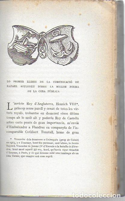 Libros antiguos: Utopia / Thomas Morus; 1a. trad. catalana J. Pin Soler. BCN : LAvenç, 1912. ex paper verjurat (250) - Foto 10 - 224727511
